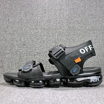 Off White x Nike Air VaporMax Sandals Triple Black Slides 850588-001 Flip Flops