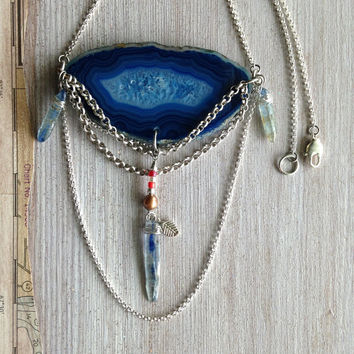Genuine Blue Agate Pendant Necklace Boho Tribal Style Kyanite Points Red Crystal Silver Leaf Layered Chain Artisan Jewelry Agate Stone