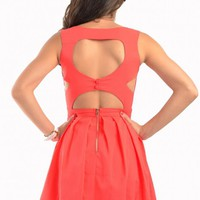 Coral Heart Back Cutout Sleeveless Dress