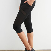 Texture-Paneled Capri Leggings
