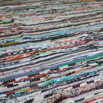 Perfect Rag Rug / Large Scrap Multi Color Area Rug / Hand Woven Floor Mat / Boho Rug / Vegan