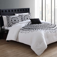 VCNY Tessa 4-Piece Comforter Set in Black/White