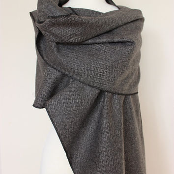 SALE Herringbone Winter Shawl Scarf, Gray Black Grey Long Herringbone Scarf, Wool Fabric Tweed Scarf, Winter Fashion Women's Scarf, For Him