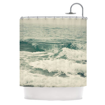 "Cristina Mitchell ""Crashing Waves"" Teal Ocean Shower Curtain"