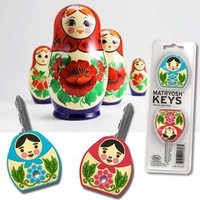 Matryosh Keys Set of Two Russian-Style Stacking Doll Key Covers, Fun & Unique Gifts