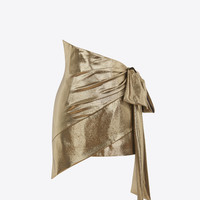 Gold Asymmetrical Draped Mini Skirt