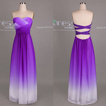 Purple Ombre Chiffon Long Bridesmaid Dress/Ombre Bridesmaid Dress/Sexy Party Dress/Beach Wedding Party Dress/Open Back Prom Dress DH414