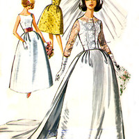 Vintage 60s Wedding Dress Pattern McCalls by treazureddesignz