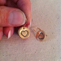Heart Earrings, Golden Brass Disc Earrings, Hand Stamped, Valentines Day, Drop Earrings