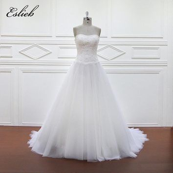 Eslieb 100% Real Photos Luxury Wedding Dresses Chaple Train Lace Appliques Off the Shoulder Wedding Dress 2018 Vestido XF1098