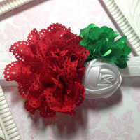 Fold Over Elastic Headband, Newborn Headband, Baby Headband, Girls Hair Accessory, Christmas Flower Headband