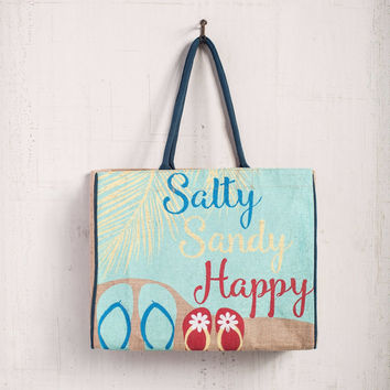 Salty, Sandy & Happy Burlap Tote