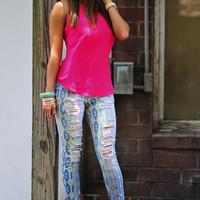 Tribal Cutie Jeans: Blue/Pink | Hope's