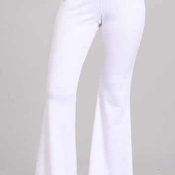 Ponte Knit Flare Pants in White