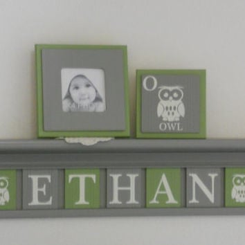 "Baby Nursery Boy Name Sign Shelf 7 Letters with Owls - Personalized Green / Gray Plaques - ETHAN Owls, 30"" Grey Shelf, Bird Nursery Decor"