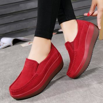 EU 34-42 5 Colors Women's Shake Shoes Genuine Leather Platform Shoes Slip-On Casual Wedge Shoes