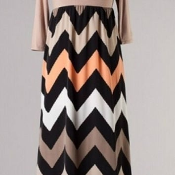Shades of Fall 3/4 Sleeve Chevron Maxi Dress