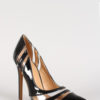 Shoe Republic Patent Clear Panel Pointy Toe Pump Color: Black, Size: 10