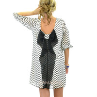 Suzy Bell Black & White Chevron Bow Blouse Dress