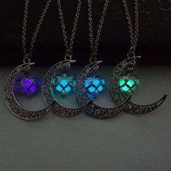 Glow In The Dark Silver Plated Moon Necklace