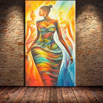 3pcs canvas wall art 100%handpainted modern abstract african women canvas painting wall art for living room decoration unframed