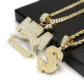 Iced out NBA NEVER BROKE AGAIN / DOLLAR SIGN Pendant W/ Cuban and Rope Chain Set.