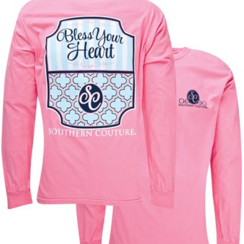 Southern Couture Bless Your Heart Preppy Comfort Colors Long Sleeve T-Shirt