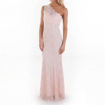 Morgan & Co. Juniors One-Shoulder Lace Mermaid Gown with Illusion Back at Von Maur