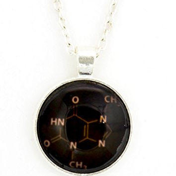 Chocolate Molecule Necklace Chemistry Structure Art NY09 Silver Tone Dome Pendant Fashion Jewelry