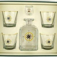 Compass Rose Decanter Set with Old Fashioned Glasses by Richard E. Bishop