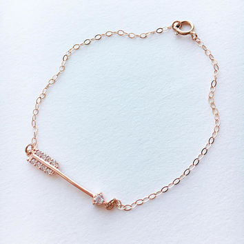 Arrow Bracelet for Women • Rose Gold Arrow Bracelet • Dainty Arrow Bracelet • Rose Gold Bracelet • Delicate Rose Gold Bracelet  | 0093BM