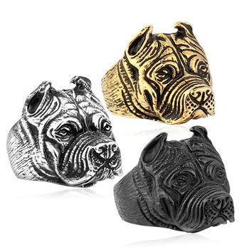 316L Stainless Steel Titanium Animal Pit Bull Dog Ring Men Personality Unique Men's Jewelry