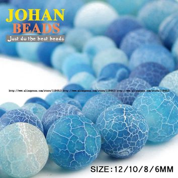 AAA Lake Blue Weathered Agate Beads Natural Agate Stone Round Loose Beads Ball 6/8/10/12MM Bracelet Beads for Jewelry Making DIY