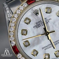 Unisex Rolex Steel & Gold 36mm Datejust White MOP Color Dial Ruby Diamond watch