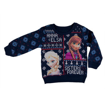 Frozen - Sisters Forever Toddler Ugly Christmas Sweater Blue Swe abf3e150c