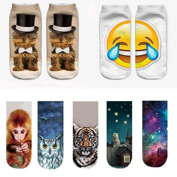 All Over Print Animal Low Cut Ankle Socks Funny Crazy Cool Novelty Cute Fun Funky Colorful