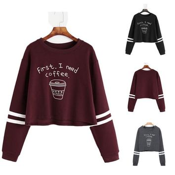 Fashion Hoodies Sweatshirt Women Casual Letter Printted Cropped Pullover Sweatshirt Autumn Long Sleeve Christmas Tracksuit Tops