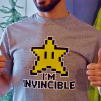 Gamer Shirt.  I'm Invincible Video Game T-Shirt. Unisex Adult Shirt.