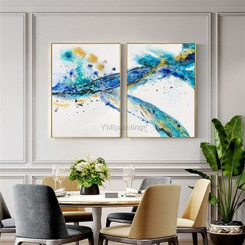 Original 2 pieces Acrylic Paintings on Canvas gold wall pictures navy texture agate blue abstract wall art Home decor cuadros abstractos