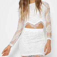 White Lace Me Up Two-piece Suit - Choies.com