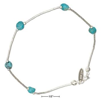 """Sterling Silver 9"""" Liquid Silver And Simulated Turquoise Nugget Anklet"""