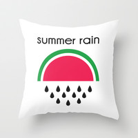 Summer rain Throw Pillow by bluemarrone