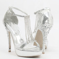 "Silver Sandals with 5"" heels and 1.25"" platform (Style 500-22)"