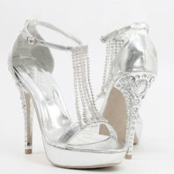 """Silver Sandals with 5"""" heels and 1.25"""" platform (Style 500-22)"""