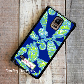 Aqua Green Shells-Lilly Pulitzer Samsung Galaxy Note 4 Case Cover for Note 3 Note 2 Case