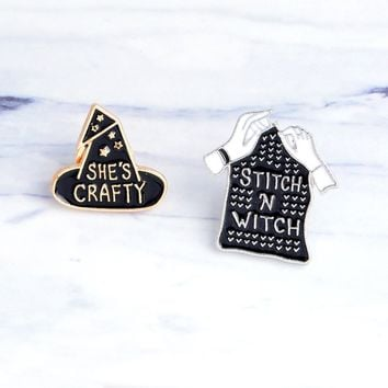 SHE'S CRAFTY STITCH N WITCH Brooch Pin Hat Coat Shape Pins Sweater Collar Pin Winter Ornament