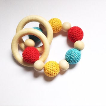 Crochet baby teething toy, Organic teething beads, Baby gift