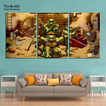 Modern Cuadros Decoration Wall Art Canvas Posters 3 Pieces Teenage Mutant Ninja Turtles HD Printed Anime Painting Pictures Frame