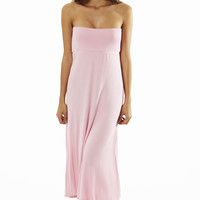 Fitted Waist Pink Maxi Dress