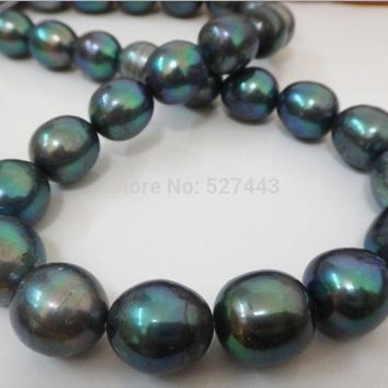 """18""""12-15Mm Natural Tahitian Black Peacock Green Oval Pearl Necklace"""